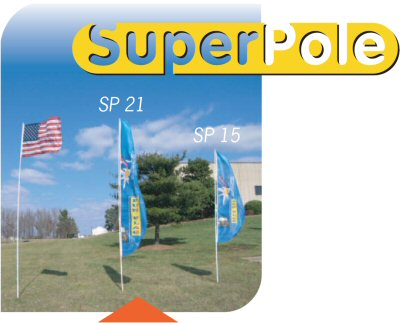 3 fiberglass flagpoles (SuperPoles) at different heights with varying flags